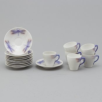 An Alf Wallander Art Nouveau 6 piece 'Dragonfly' porcelain coffee  service, Rörstrand, Sweden.