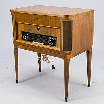"""RADIO, """"Laterna"""" (Salora), i träskåp, 1950-tal."""