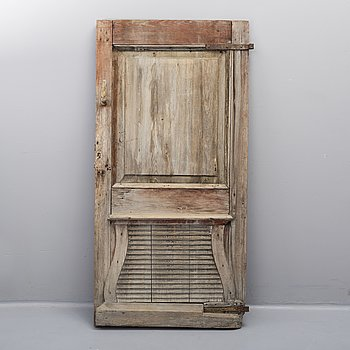 A pinted pine door, 18th /19th Century.
