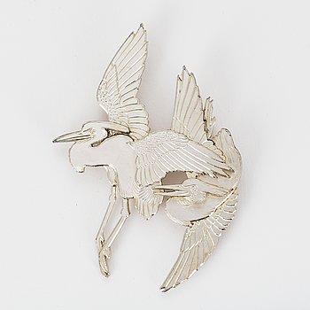 A Wiwen Nilsson sterling silver brooch. Lund 1954.