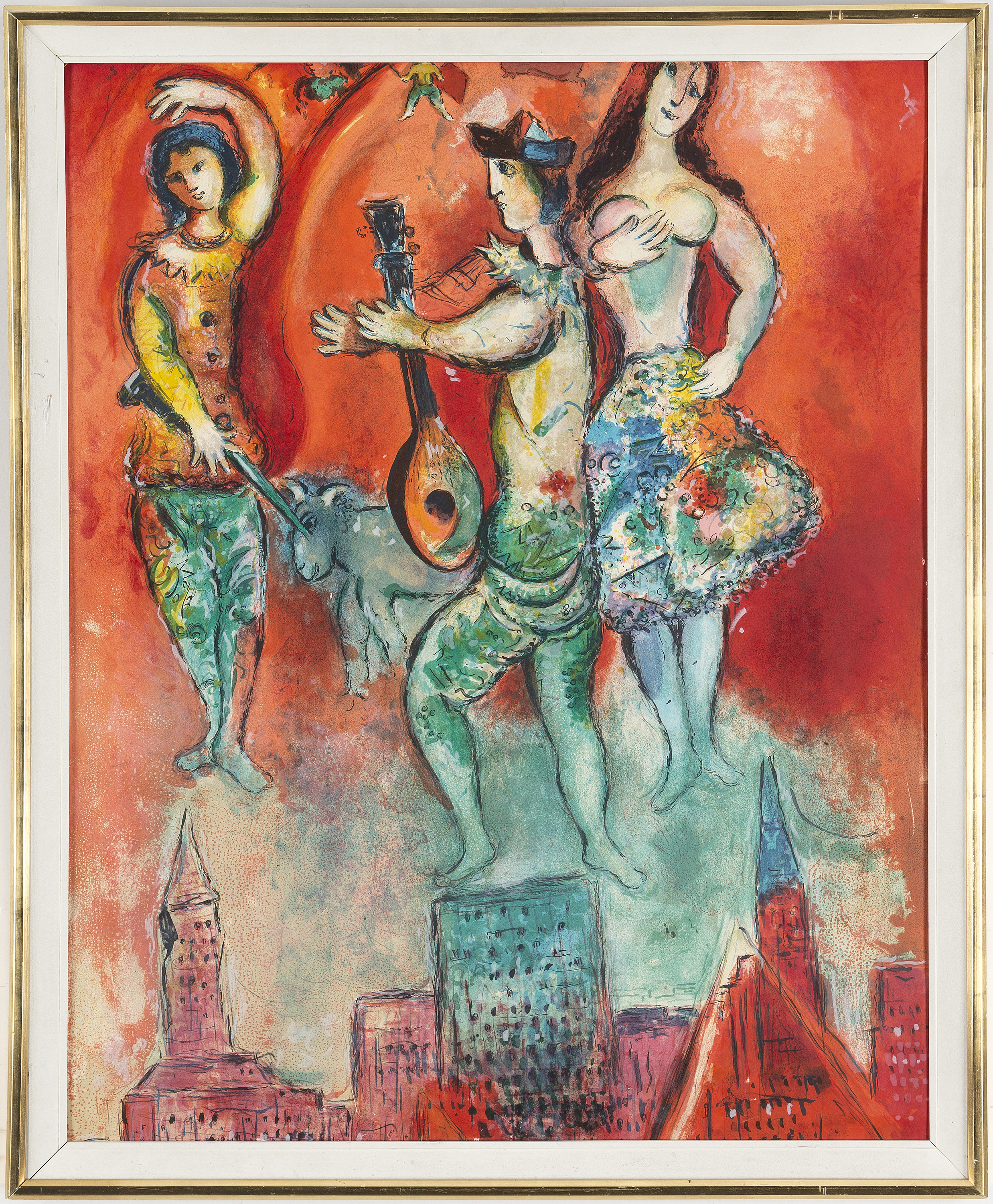 Marc Chagall After Poster Colour Lithographe Unsigned 1967