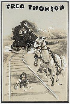 OKÄND KONSTNÄR, blandteknik, signerad KÅ. PE., omkring 1925.