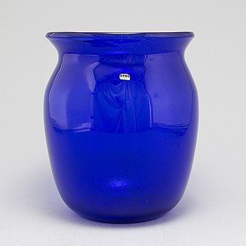 ERIK HÖGLUND, a blue glass vase from Boda.