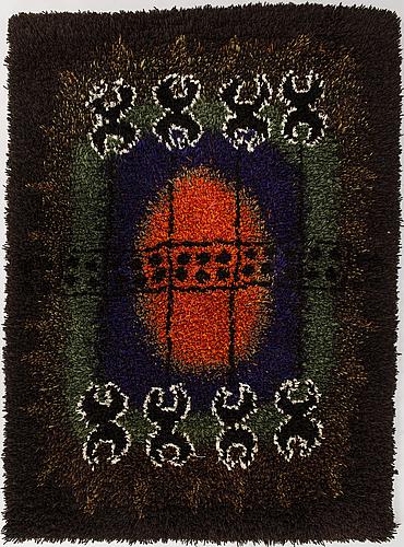 Hannamaija teisko, a long pile ryijy rug. circa 147x109 cm. design year 1964