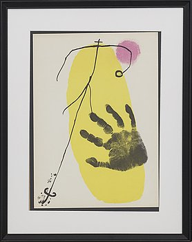 JOAN MIRÓ, colour lithographe, unsigned, from Derrière le Miroir nr 87-88-89 1960.
