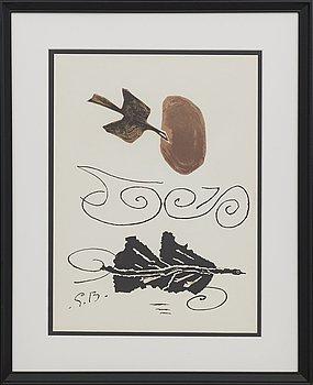 GEORGES BRAQUE, efter, färglitografi, signerad i trycket, ur Derrière le Miroir nr 85-86 1956.