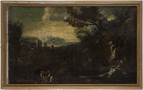 Salvator rosa, circle of, oil on canvas.