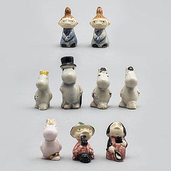 SIGNE HAMMARSTEN-JANSSON, nine moomin ceramic characters by Arabia in the 1950's.