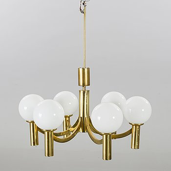 A BRASS CEILING LAMP.