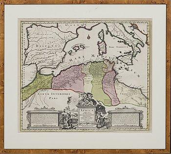 """Matthias Seutter, map, copper engraving, """"Africa magna pars ad illustrationem historiae ecclesiasticae..."""",1720."""
