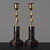 A pair of late gustavian circa 1800 candlesticks.