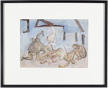 PETER WEISS, tempera på papper, 1946.