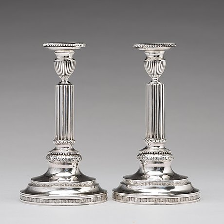 A pair of 18th century silver candlesticks, mark of simson ryberg, stockholm 1787