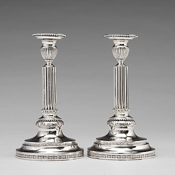 A pair of 18th century silver candlesticks, mark of Simson Ryberg, Stockholm 1787.