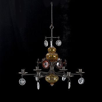 A chandelier by Erik Höglund, Boda, from the second half of the 20th century.