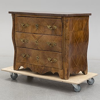 A Swedish Rococo inlay chest of drawers, mid 18th Century.