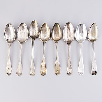 MATSKEDAR, 8 st, silver, Sverige/Finland, 1700-1800-tal.