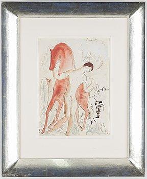 ISAAC GRÜNEWALD, tusch och akvarell signerad Isaac.