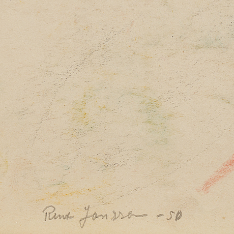 Rune jansson, chalk drawing, signed and dated  50