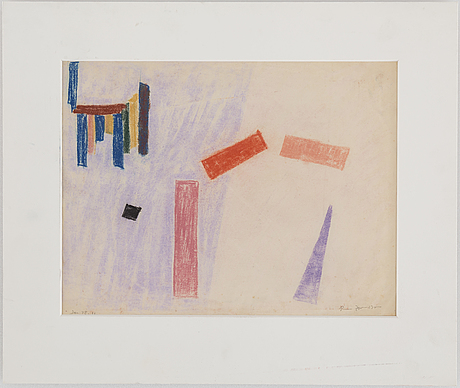 Rune jansson, pastel, signed and dated jan  48