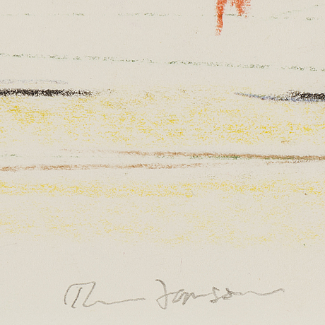 Rune jansson, chalk drawing, signed.
