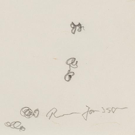 Rune jansson, kritteckning, signerad