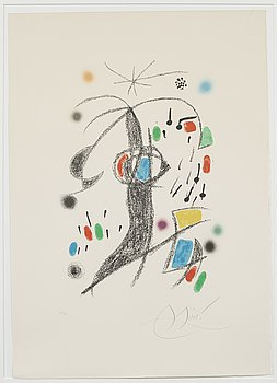 JOAN MIRO, lithograph in colors, numbered 34/75 and signed.