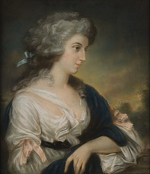 290. UNKNOWN ARTIST, 19TH CENTURY. PORTRAIT OF A LADY.