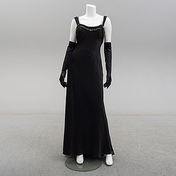 ALBERTO MAKALI, a satin evening gown, circa size S.