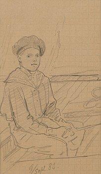 ADOLF VON BECKER, teckning, daterad 9/sept 83.