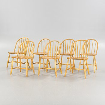 Seven matched mid 20th Century birch and beech chairs.