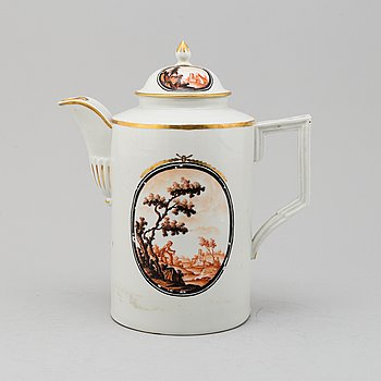 A large enamelled porcelain coffee pot with cover, probably Germany, Empire, 19th century.