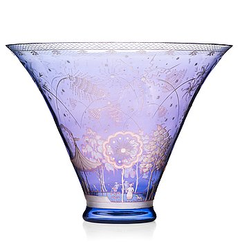 "10. Edward Hald, an engraved glass bowl ""Fireworks"", Orrefors, Sweden 1945."