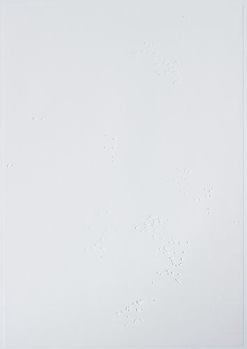 Katharina hinsberg, signed k. hinsberg and dated 1.9.2000 van horn = marfa. perforated paper.