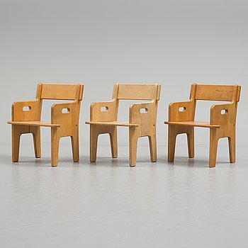 "HANS J WEGNER, a set of three ""Peters chair"" childrens chairs, designed in 1944."