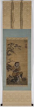 RULLMÅLNING, tusch och färg på papper. Japan, Meiji (1868-1912).