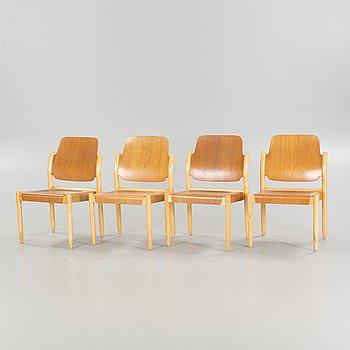 """4 1950's chairs model 804/3B, """"Åkerblomsstolar"""" designed by Gunnar Eklöf for AB Svenska Möbelfabriken in Bodafors."""
