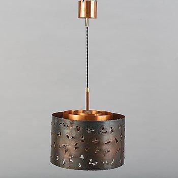 A Boréns Borås ceiling copper lamp, 1970s.