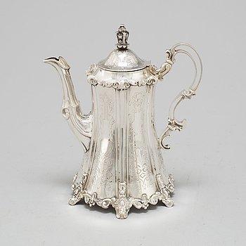 GUSTAF THEODOR FOLCKER, coffee pot, silver, Stockholm 1853.
