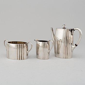 A MICHELSEN, moccaservis, 3 delar, silver. Köpenhamn 1906.