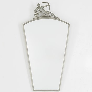 A PEWTER MIRROR, first half of the 20th century.