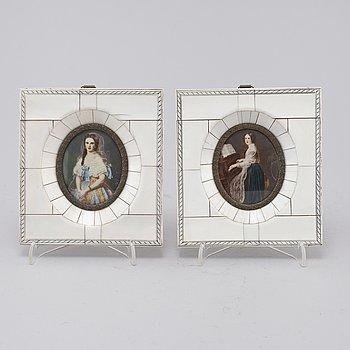 MINIATYRER, 2 stycken, 1800-tal.