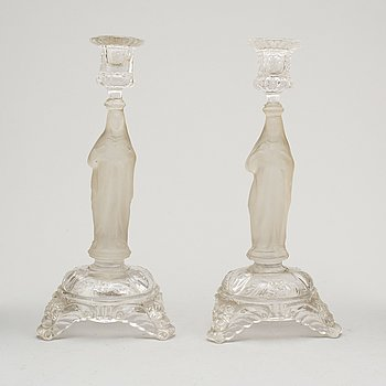 LJUSSTAKAR, ett par, pressglas, 1800-talets senare del.