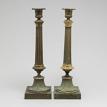 A pair of bronze gustavian candlesticks, late 18th century.