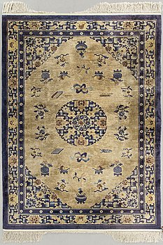 An old Chinese silk carpet ca 185 x 123 cm.