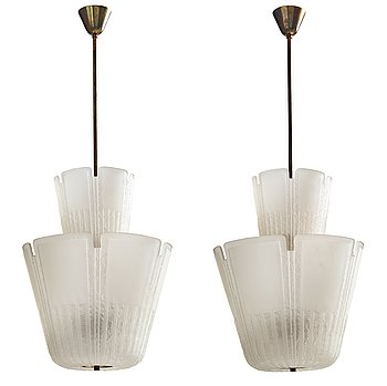234. Böhlmarks, a pair of Swedish Modern blasted glass ceiling lights, circa 1938.