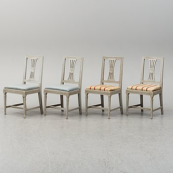 A set of four gustavian chairs, circa 1800.