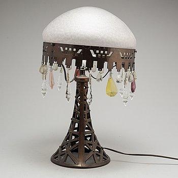 BORDSLAMPA, jugend, koppar och glas, tidigt 1900-tal.