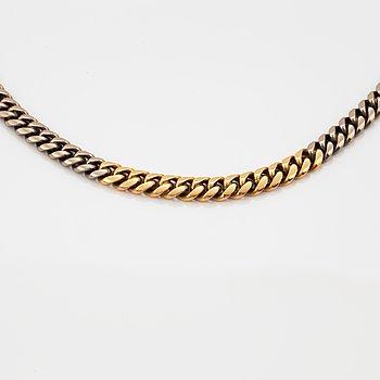 HALSKEDJA, 18K guld, manglad pansarlänk.