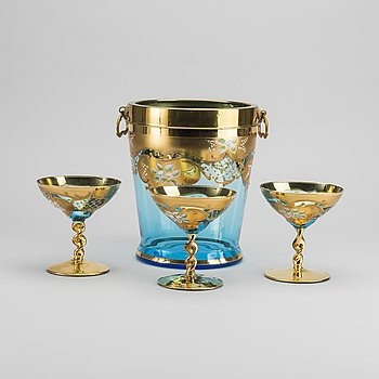 CHAMPAGNEKYLARE samt glas 3 st Barbini Murano Italien 1900-talets mitt.